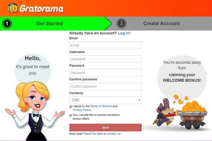 Gratorama Registration Window - Clicking on this link will take you to Gratorama's website - Terms and Conditions apply