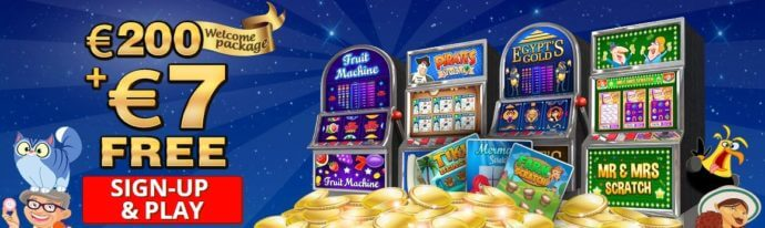 Scratchmania Bonus Coupon Offer - $200 welcome package + $7 free - Terms and conditions apply - Clicking on this image will take you to the ScratchMania website