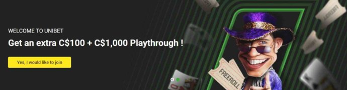 Unibet Other Promo Offer - Get an extra C$100 + C$1,000 playthrough! - Terms and conditions apply - Read more on Unibet Canada website