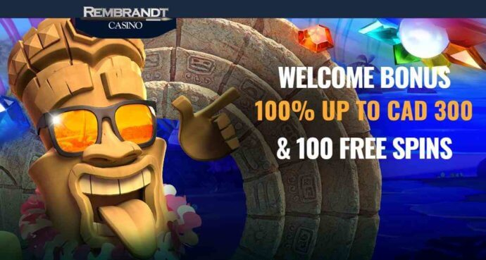 Rembrandt Casino welcome bonus - 100% up to CAD 300 & 100 Free spins