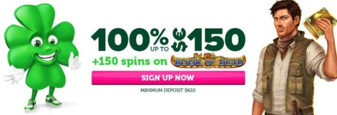 CasinoLuck Bonus - 100% up to $150 + 150 spins on The Book of Dead - Terms and Conditions apply, read below.