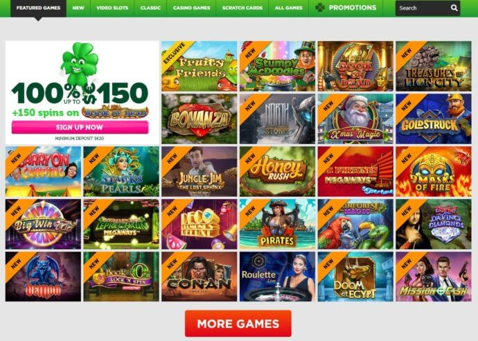 A screenshot of the  most popular CasinoLuck Games on offfer