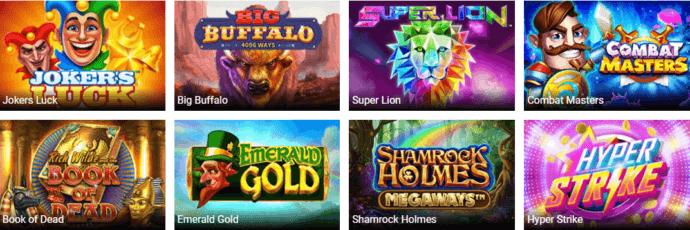 A screenshot of the most popular CasinoLuck Games on offfer