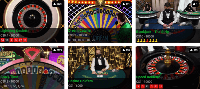 CasinoLuck Live Casino Games Selection