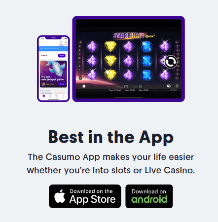 Casumo App - Over 880 exciting games - Large selection of table games - Huge jackpot games