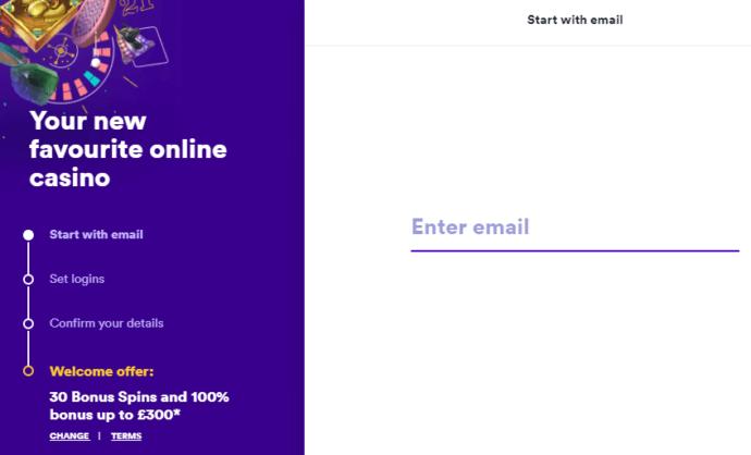 Casumo Casino Registration Form
