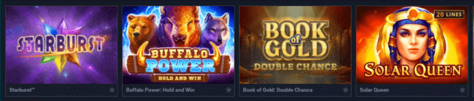 A screenshot of a selection of casino games at Evobet