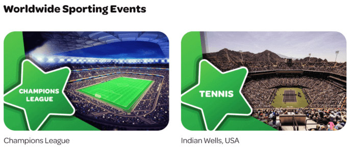 Spin Palace Sports offers betting on worldwide sporting events