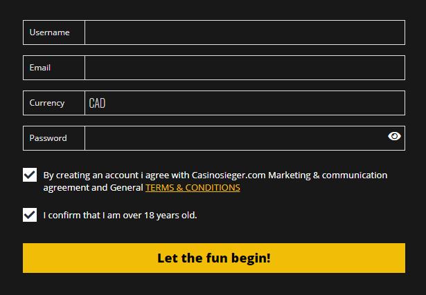 Casino Sieger registration form