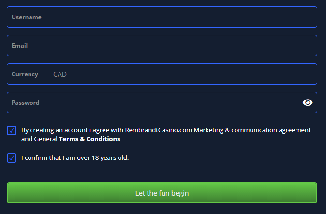 A screenshot of the registration form on Rembrandt Casino