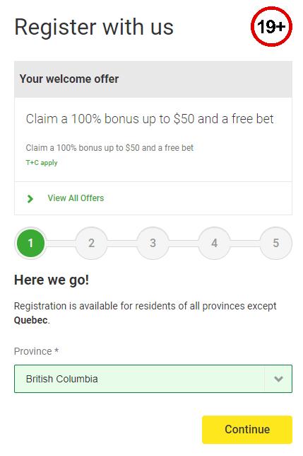 Unibet registration form - screenshot from the website