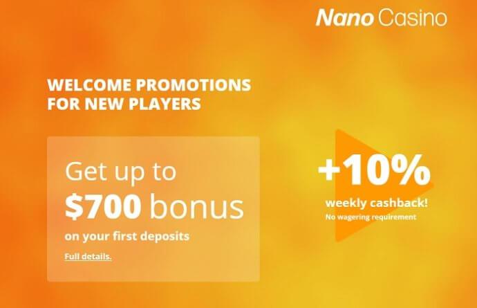 NanoCasino Welcome Bonus